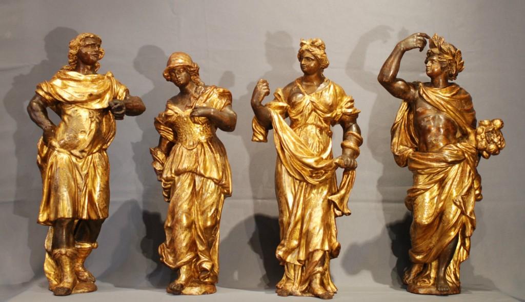 4 statues bois sculpté et doré Louis XIV