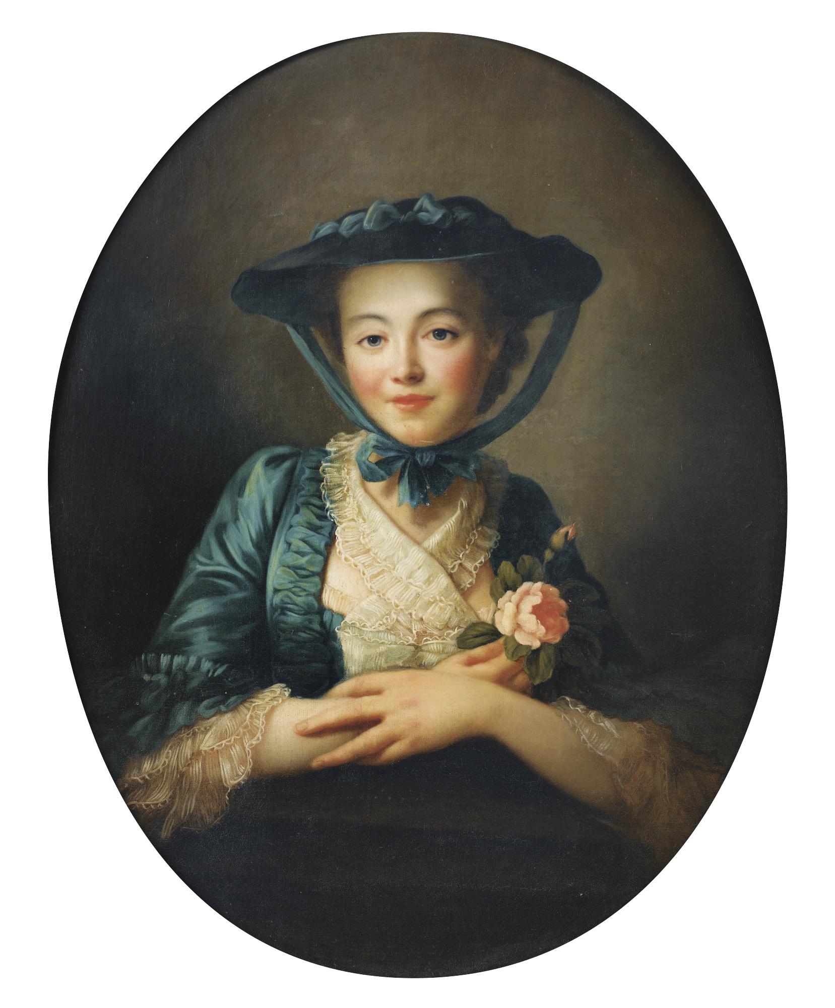 Portrait d'une jeune fille à la rose