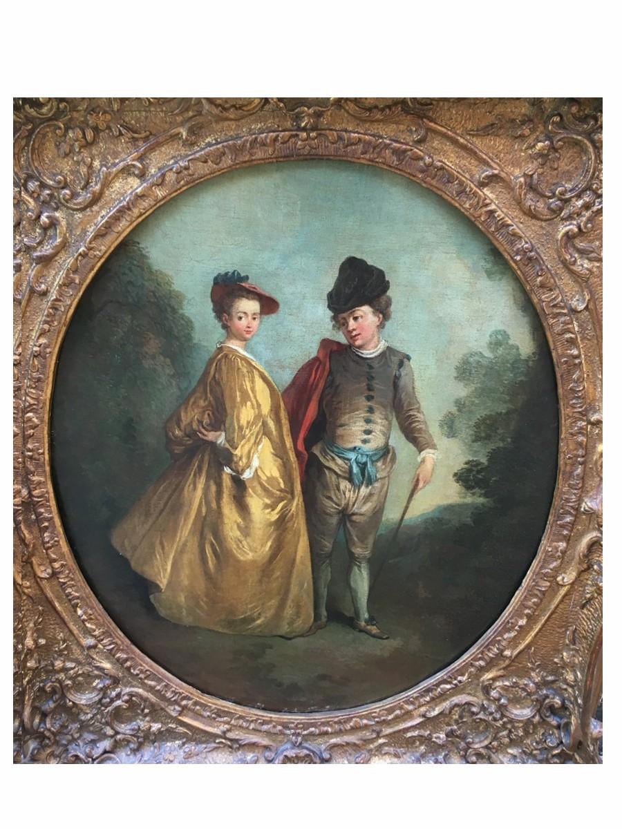 Couple en habit, huile sur toile 18ème siècle