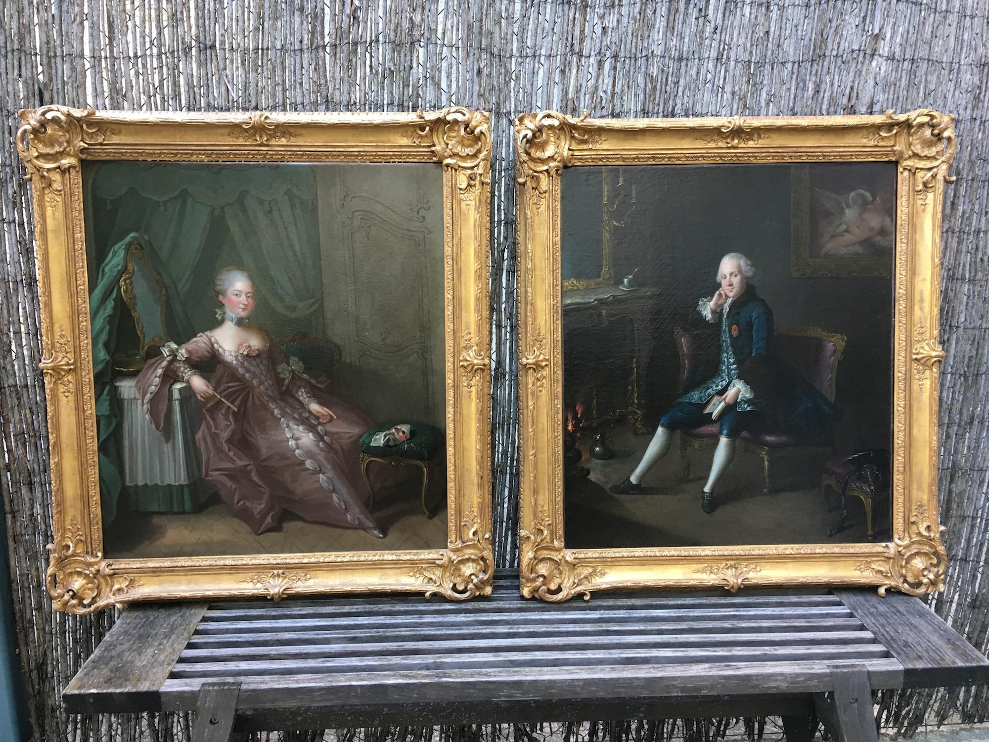 Paire de portraits d'Epoque 18eme siècle