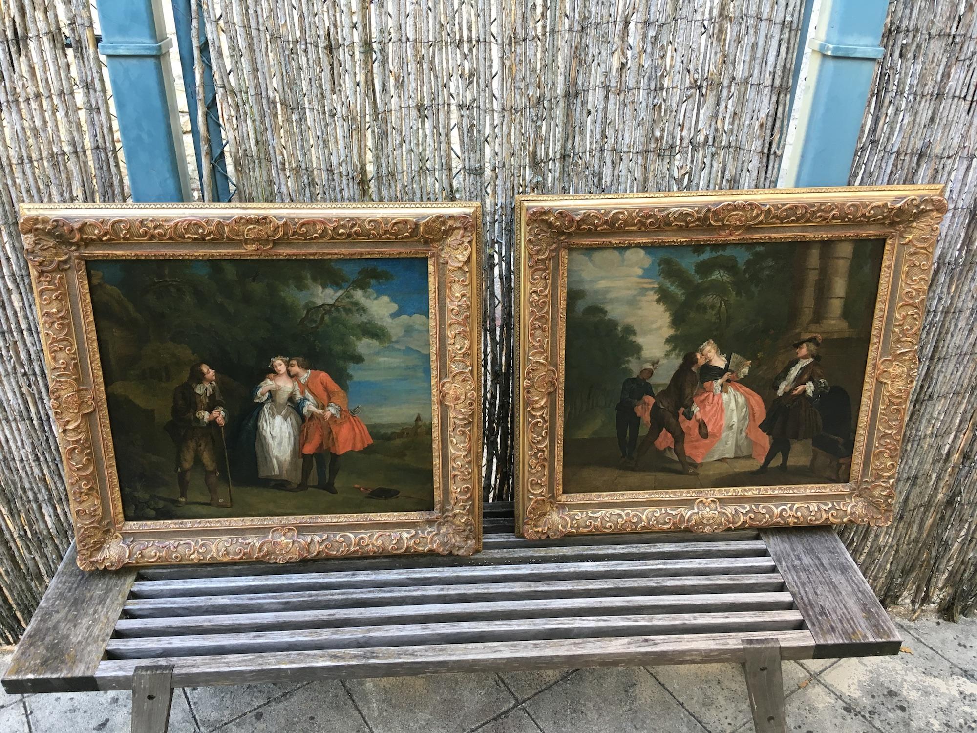 Paire d'huiles sur toile d'époque 18ème siècle