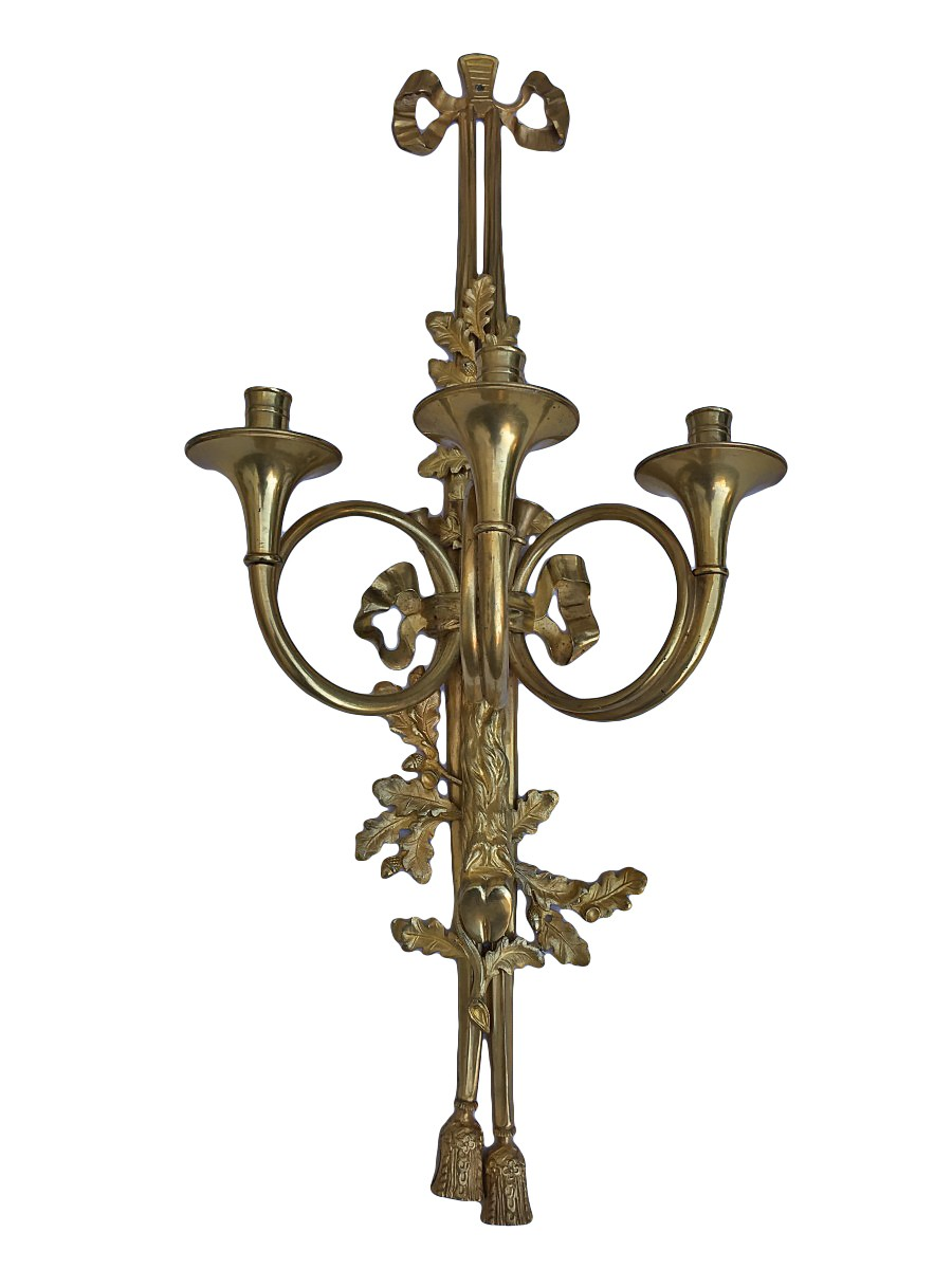 Paire d'appliques à cors de chasse d'époque Napoléon III