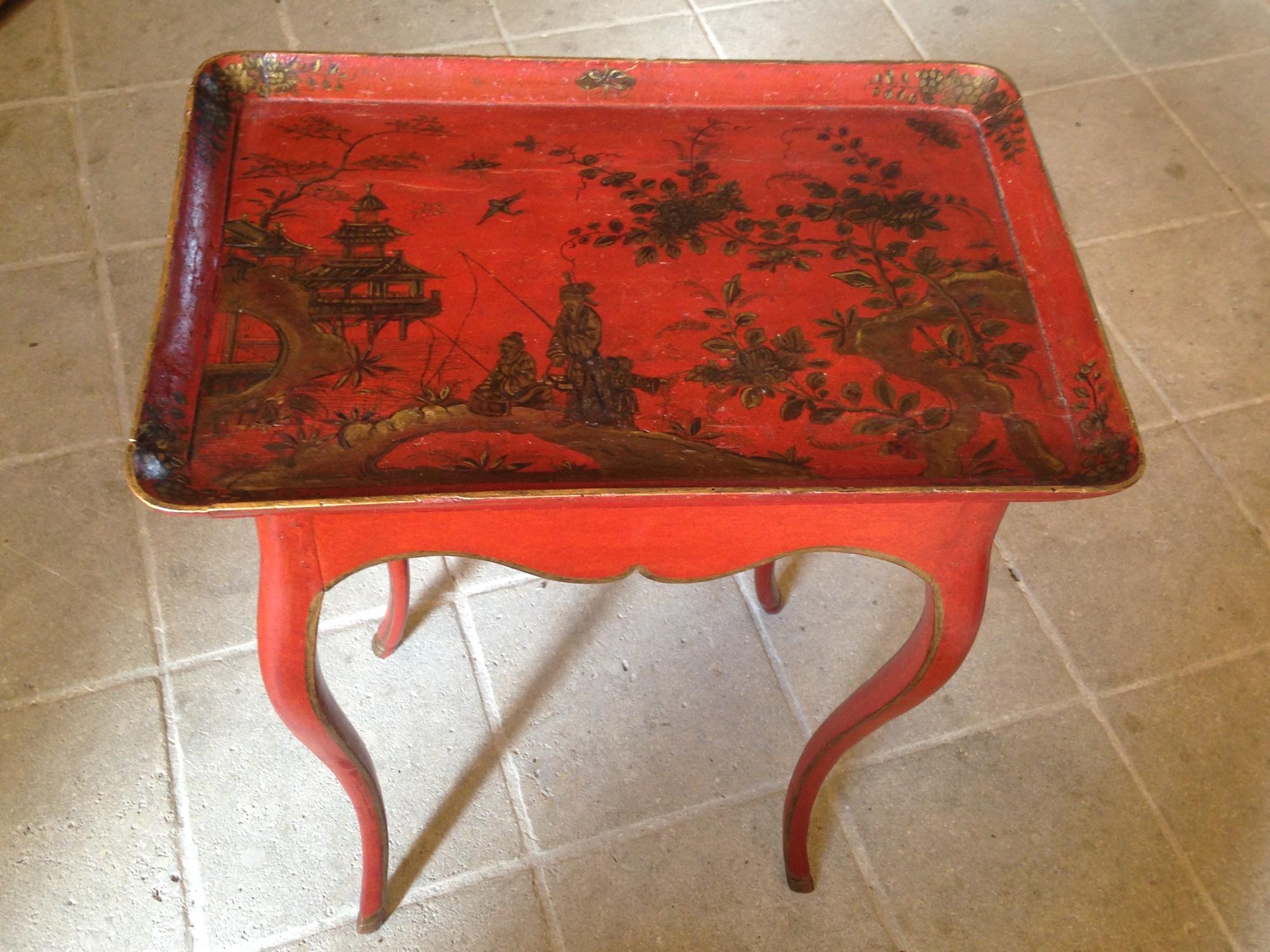 Table cabaret en laque d'époque Louis XV