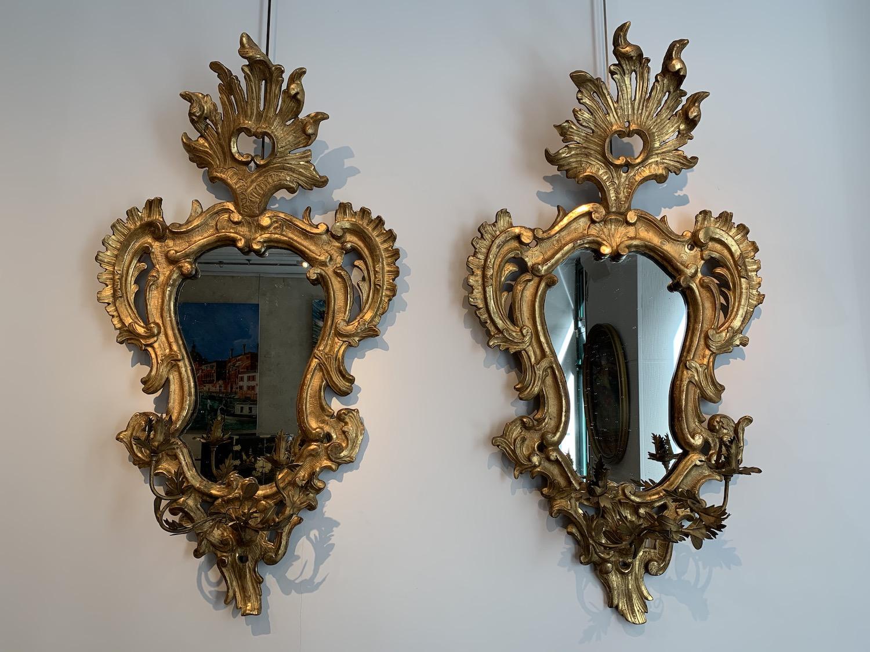 Paire de miroirs italiens