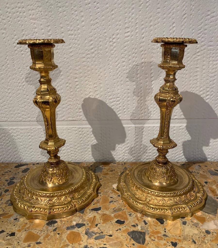 Paire flambeaux Louis XIV